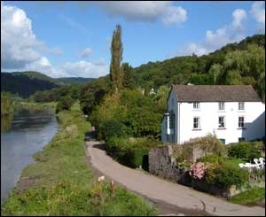 From Brockweir Bridge looking up the Wye Valley towards Monmouth by Karen Rudderham
