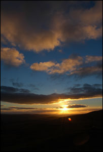 Sunset over the Aman Valley, from the top of the Black mountain, from David Bevan from Garnant, Carmarthenshire.