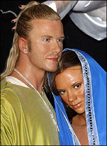 Posh and Becks are dressed as Mary and Joseph