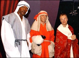 Waxwork models, from left to right, Samuel L Jackson, Hugh Grant and Graham Norton are dressed as shepherds.