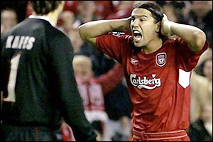 Milan Baros shows his frustration at seeing his goal disallowed