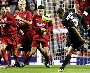 Rivaldo gives Olympiakos the lead at Anfield