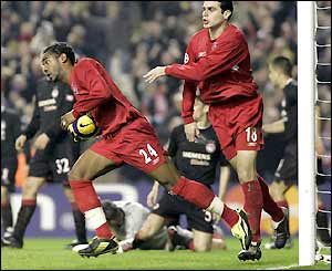 Florent Sinama Pongolle comes off the bench to equalise for Liverpool in the 47th minute