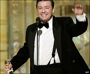 Ricky Gervais, who won two Golden Globes