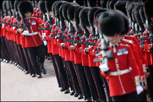 Troops taking part are drawn from the Household Division of the Army, whose special duty it is to guard the monarch