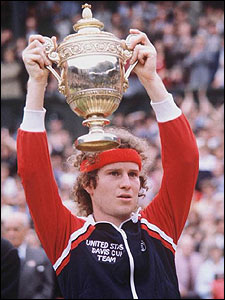 John McEnroe's more famous as a commentator these days, but he had a bad temper in his tennis days. Nice headband!