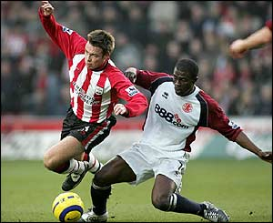Southampton's Greame La Saux and George Boateng of Middlesbrough