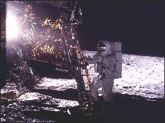 Alan Bean stepping on to the Moon