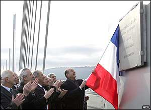 President Jacques Chirac at France's Millau bridge