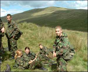 A small group of Gwent army cadets in the Brecon Beacons