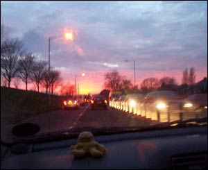 This photo of Mumbles Road in Swansea was taken during rush hour at sunset (Sara Moran, Swansea)
