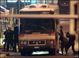 Police board the bus