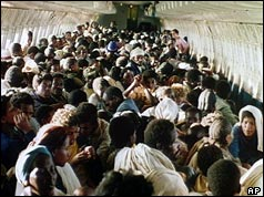 Jewish Ethiopians on board a plane during Operation Solomon - 1991