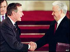 President George Bush and his Russian counterpart Boris Yeltsin shake hands