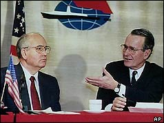 Mikhail Gorbachev and George Bush