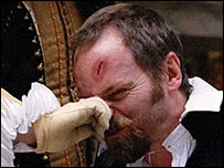 An actor having his nose tweaked in a play at Shakepeare's Globe Theatre (Picture: John Tramper)