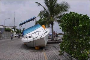 A boat washed ashore in the capital of the Maldives, Male.