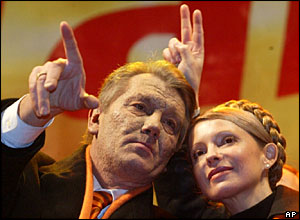 Viktor Yushchenko and his key ally Yulia Timoshenko