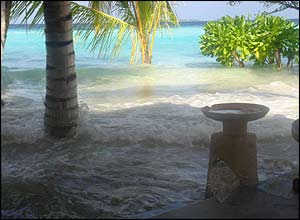 Kurumba resort, Male, Maldives, flooded after the tsunami