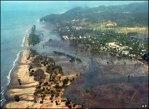 An aerial view of Indonesia's Aceh province taken after Sunday's 9.0 magnitude earthquake