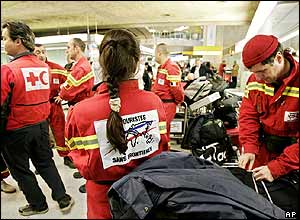 French aid workers in Roissy airport, Paris