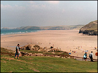 Bathers were rescued from Perranporth beach