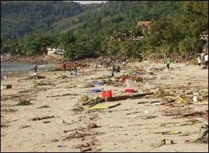 Debris scattered on Patong beach, Thailand
