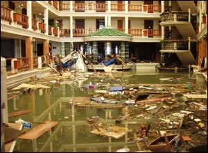 Flooded hotel in Patong, Thailand