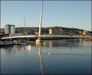 The foot bridge leading to the SA1 development in Swansea, taken by Dennis Beal of Swansea