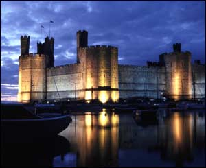 Caernarfon Castle after sunset, sent by Dave Bevan from Garnant