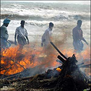 Volunteers cremate bodies at Nagappattinam, the worst hit area of Tamil Nadu