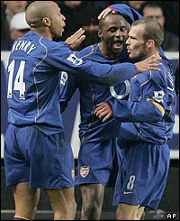 Freddie Ljungberg is congratulated after scoring for Arsenal at Charlton