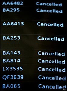 Information screen showing cancelled flights