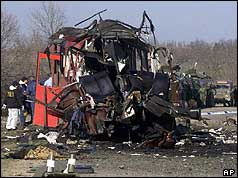 Mangled remains of the bus after it was attacked