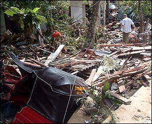 Debris from coastal village in Sri Lanka
