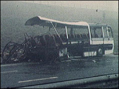 Mangled remains of the coach on the M62