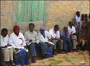 Red Crescent officials in Maraya, a village in Somalia affected by the tsunami