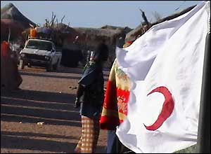 Red Crescent flag in the village of Maraya in Somalia, where the organisation is handing out medical kits