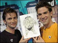 Doctor Who actor David Tennant, left, and BP's Gethin Jones