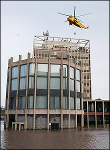 An RAF sea rescue helicopter saves someone from the roof of the Civic Building, Carlisle
