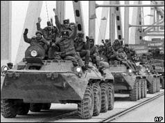 Soviet troops in tanks