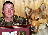 British Army tracker dog Max, who is a German Shepherd, and his handler Corporal Steve Edgeler have been awarded a medal for their peacekeeping duties in Kosovo