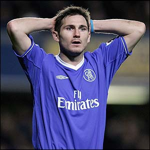 Frank Lampard holds his head