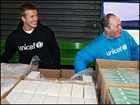 Becks visited a Unicef warehouse in Denmark