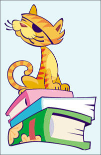 Image of a pirate cat sitting on a pile of books (Picture: The Reading Voyage)