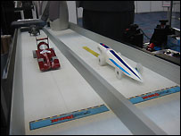 Model racers on the starting line