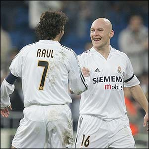 Real Madrid players Rual and Thomas Gravesen