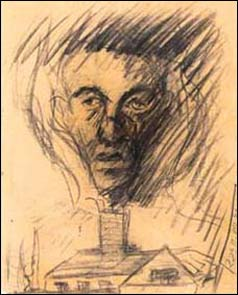 Charcoal drawing of head emerging from crematorium chimney