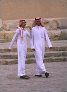 In Saudi Arabia, it is traditional for men to wear this trouser and long shirt combination called a thobe.
