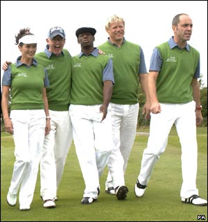 Left to right, Catherine Zeta Jones, Chris Evans, Ian Wright, Peter Schmeichel and James Nesbitt .
